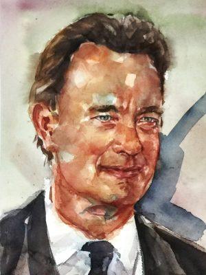 Acuarela del actor Tom Hanks