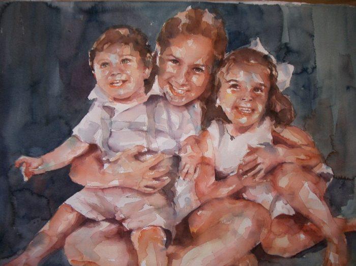 Acuarela de tres niños