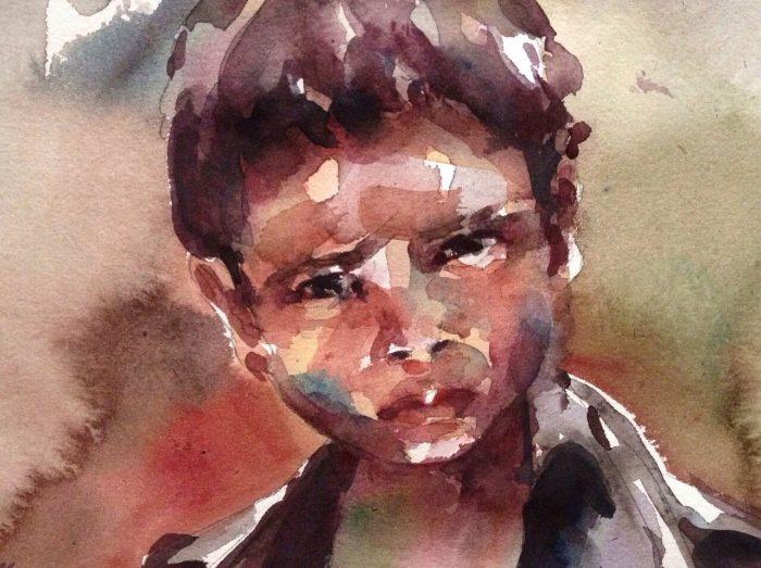 Acuarela de un niño de aspecto triste