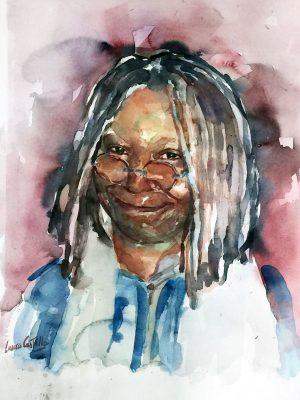 Retrato en acuarela de Whoopi Goldberg
